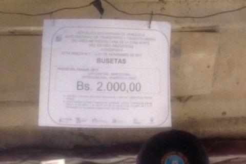 Choferes cobran 1000 bolívares de pasaje en Barcelona