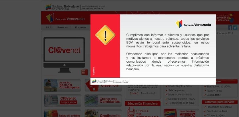 Banco de Venezuela suspende todas las operaciones por caída de la plataforma