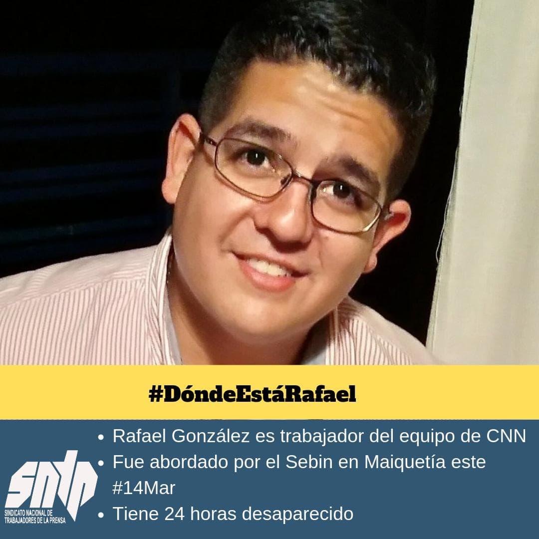 Rafael González detenido por presuntos efectivos del Sebin el 14 de marzo en Maiquetía