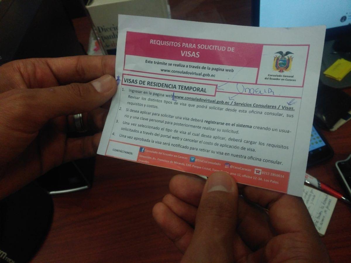 Visa humanitaria Ecuador